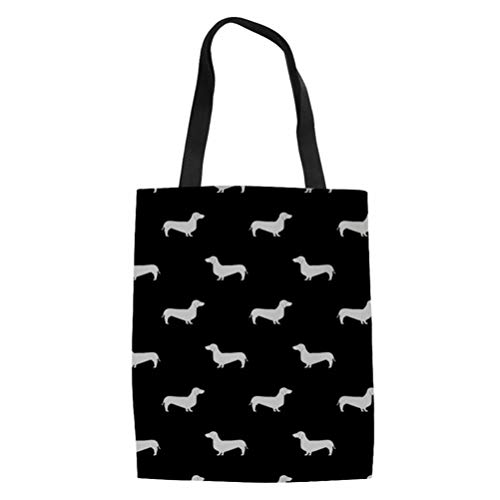 SANNOVO Cute Dachshund Dog Canvas Reusable Tote Bag Durable Shopping Tote Bags Book Bags for Women Kids