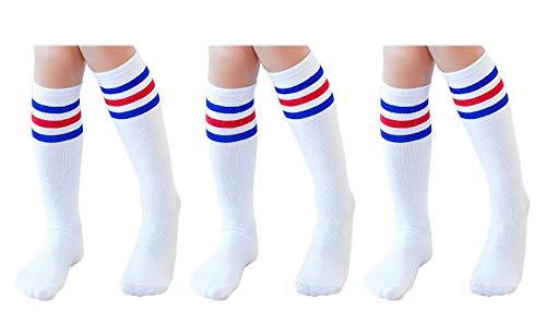 Knee High Tube Socks for Boys, Girls, Baby, Toddler & Child 3 Pairs (Blue Stripe,13.5in/34cm) -