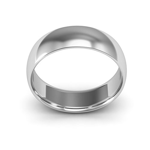 18K White Gold men's and women's plain wedding bands 6mm comfort-fit light, 10.5 by i Wedding Band (Image #2)