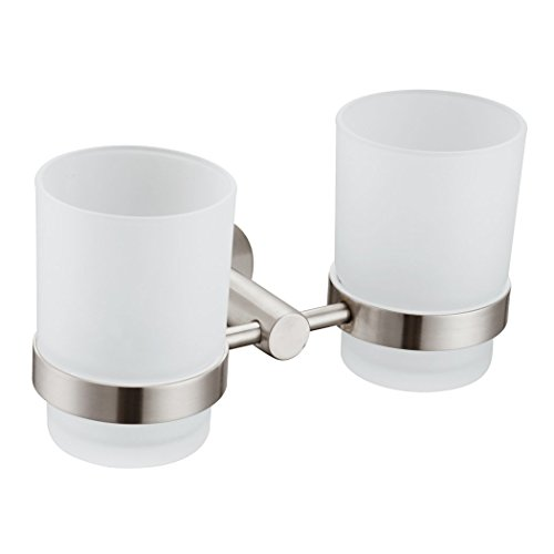Double Toothbrush Holder, Angle Simple Stainless Steel Wall Mounted Glass Tumbler Holder With Frosted Glass Cup Toothpaste Razor Organizer Bathroom Storage, Brushed Nickel