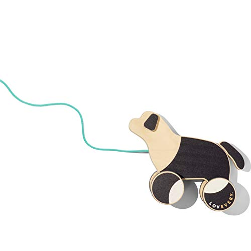 The Pull Pup by Lovevery - Wooden Push Pull Toy, Black/White/Natural Wood