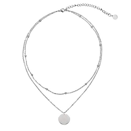 (LEGITTA Disc Coin Charm Pendant Collar Necklace Layering Titanium Chain Layered Choker Stainless Silver for Women Girls L115S)