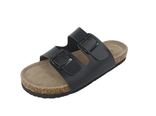 Cork Footbed Sandals (ASHVIEE Slide Sandals Cork Footbed Slide Sandals (42 M, Black))