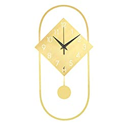 BJL Wall Clock, Clock, Pure Copper Oval Combination Square Wall Clock Decoration Wall Clock Living Room Home Creative Clock 25x48cm Modern Wall Clock (Color : A)