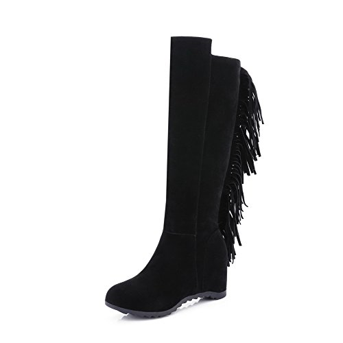 AllhqFashion Womens High-top Pull-on Frosted High-Heels Round Closed Toe Boots Black LITfIZux
