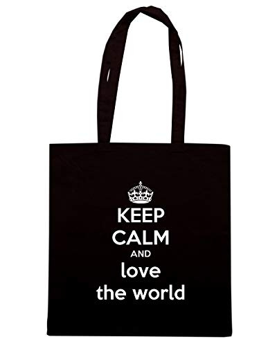 CALM WORLD Shopper Borsa THE Nera LOVE AND KEEP TKC2527 HIH8qwF