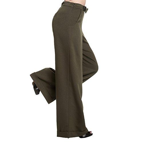 Ancha Estilo Pantalones Cintura 1940s Largo Pernera Pantalón Swing Mujer Vintage Alta Oscuro Verde Retro B0cFw