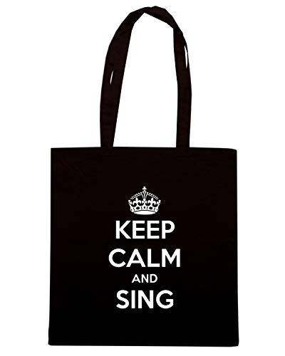 Speed Shirt Borsa Shopper Nera TKC0466 KEEP CALM AND SING