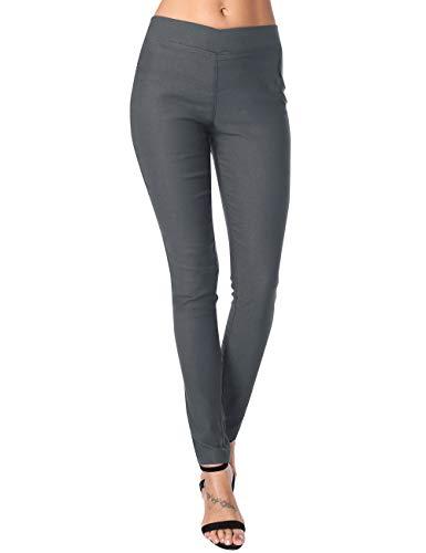 DJT Office Pants for Women, Women Super Comfy Stretch Pull-on Business Millennium Pants Dark Grey XL
