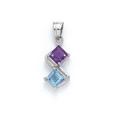 Bleu Topz-Argent 925/1000-Améthyste-JewelryWeb
