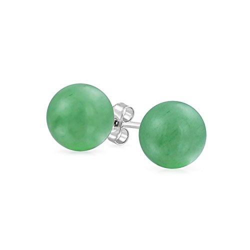 Simple Dyed Gemstone Green Aventurine Round Ball Stud Earrings For Women 925 Sterling Silver 10MM