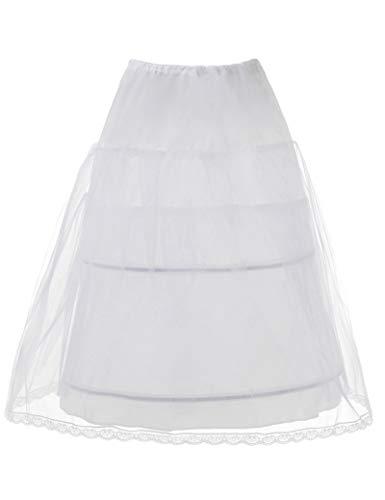 AW Girls' Petticoat Half Slip 2 Hoop Flower Girl Crinoline Petticoat Skirt, White, One Size