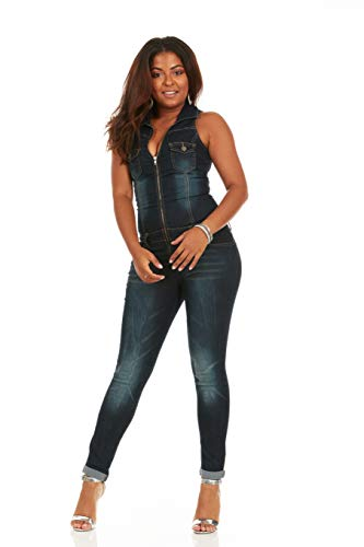 (Cover Girl Women's Plus Size Denim Jumpsuit Sleeveless Skinny fit Zip up, Dark Biker Blue, 22W)