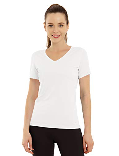 BUBBLELIME Women's UPF 50+ Workout Shirts Yoga Tops Moisture Wicking, White(v-neck Short Sleeve), Large
