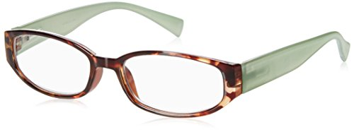 Wink Fancy Tort Face Reading Glass with Aqua Temples and Suede Case, 2.00, 0.200 Ounce