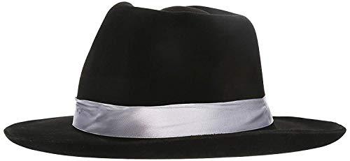 Gangster Fedora Hat Black w/ White Band]()