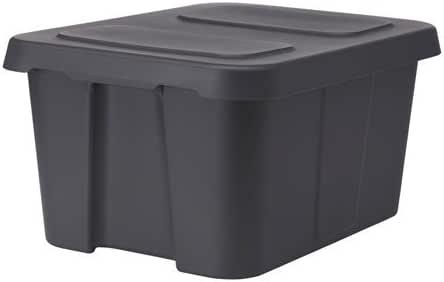 Ikea - Caja con tapa (58 x 45 x 30 cm), color gris oscuro: Amazon.es: Hogar