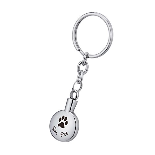 BY Pet Paw Series Cremation Jewelry Urn Keychain Keepsake Stainless Steel Memorial Ashes Keyring (E)