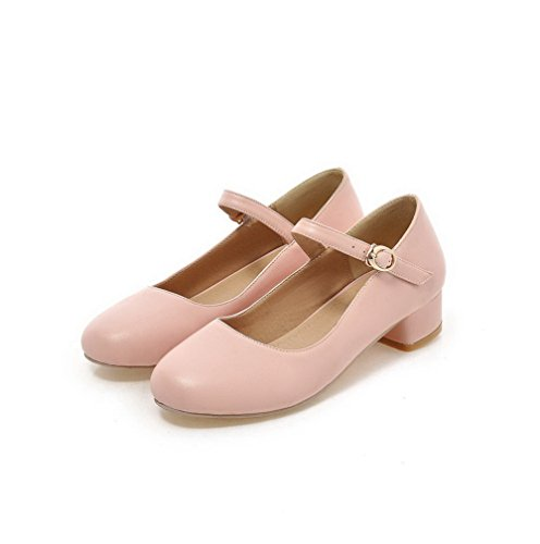 Odomolor Women's PU Round-Toe Low-Heels Buckle Solid Pumps-Shoes, Pink, 42