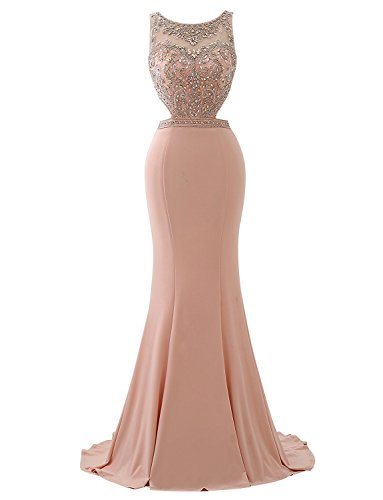 Beaded Slim Cut Formal Dress (Erosebridal Long Prom Dress with Beaded Bodice Cut Side Evening Formal Gowns Wedding Guest Dress Pink US8)