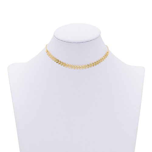 Boosic Adjustable Fishbone Necklace Imitation Pearls