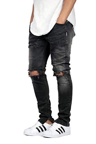 efd2bbfd4e6 KDNK Men s Destroyed Knee Ankle Zipper Jeans - 2 Colors (32