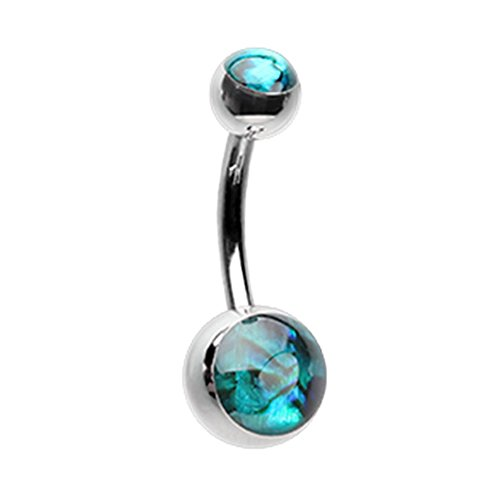 Inspiration Dezigns Belly Button Navel Ring Abalone Shell Double Ball Surgical Steel 14G from Inspiration Dezigns