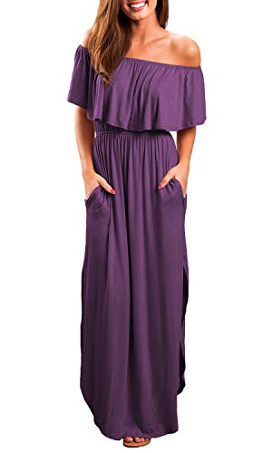 OYANUS Womens Off The Shoulder Ruffles Pockets Dress Side Split Maxi Dresses Purple M