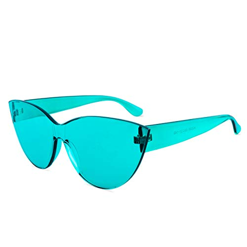 Colorful One Piece Rimless Transparent Cat Eye Sunglasses for Women Tinted Candy Colored Glasses (#H3099-Lake -
