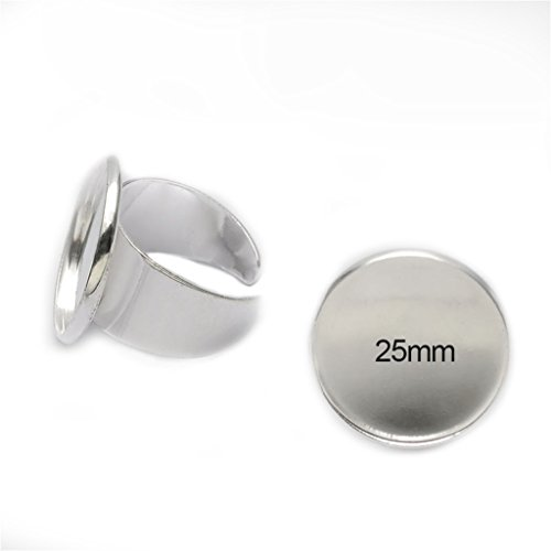 Yumei Jewelry 20 Pcs 25mm Fit Cabochon Adjustable Silver Plated Ring Base Setting Blanks Round Bezel Ring Tray