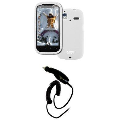 EMPIRE HTC Amaze 4G Weiß Silicone Skin Case Tasche Hülle Cover + Auto Charger (CLA)