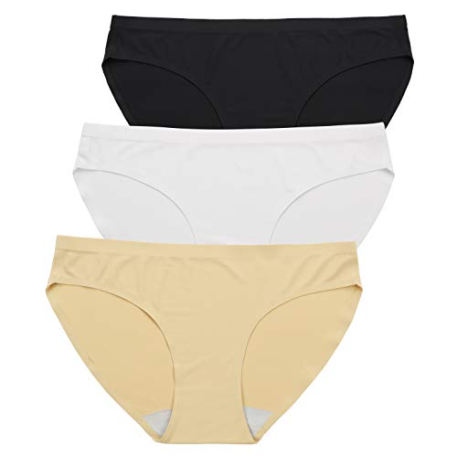 (ALTHEANRAY Women's Seamless Panties No Show Bikini Nylon Invisible Hipsters Underwear Multi-Color(3081B/W/A,M))
