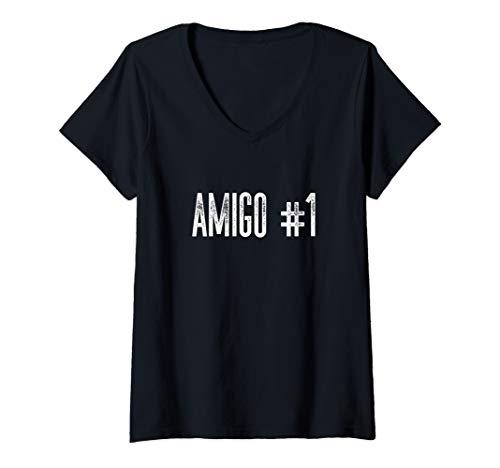 Womens Amigo #1 Funny Halloween Group Costume Idea for Friends V-Neck T-Shirt -