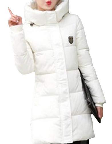 Coat Pocket Mid Long MogogoWomen Hoodie White Skinny Thick Zip Down Warm znxgq64wO