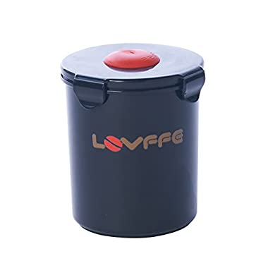 LOVFFEE Black Polypropylene Coffee Canister (with Scoop): Holds 1 Pound Whole Bean Coffee Or Ground Coffee in Vacuum Airtight Coffee Storage Container