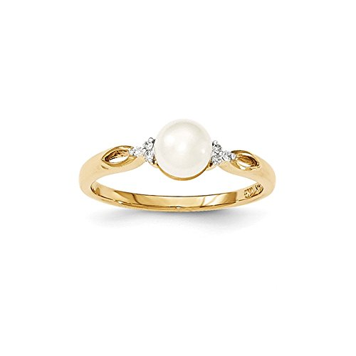 Jewels By Lux 14K Yellow Gold FW Cultured Pearl and Diamond Ring