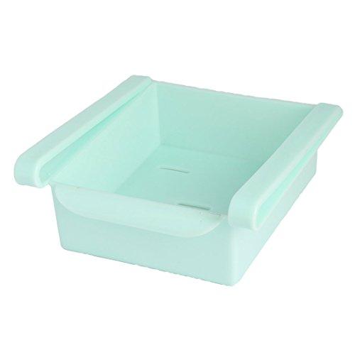 (uxcell Plastic Fridge Storage Sliding Drawer Shelf Box Basket Organizer Cyan)