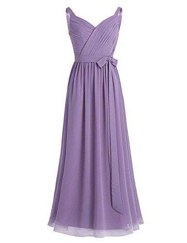 299d97775318 iEFiEL Damen Kleid Festlich Kleider V-Ausschnitt Brautjungfer Hochzeit  Cocktailkleid Chiffon Faltenrock Elegant Langes Abendkleid