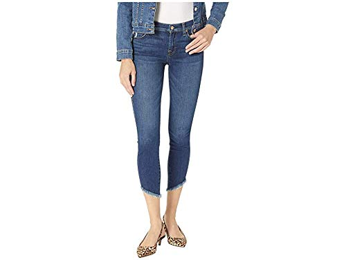 7 For All Mankind Women's The Ankle Skinny Jeans with Angled Hem, Glam Medium, Blue, 27