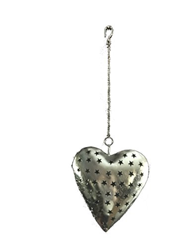 Tealight Lantern Hanging Heart - Romantic Tea Light Candle Holder - Wedding Party Decor - Valentine's Day Gift Idea - Use with Wax Votives Or LED/Battery Candles ()