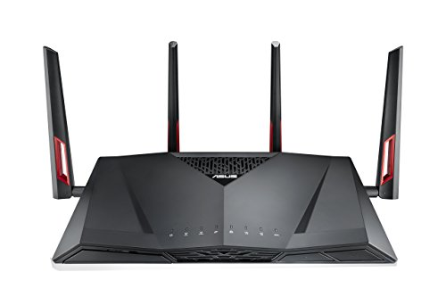 - ASUS Dual-Band Gigabit WiFi Gaming Router (AC3100) with MU-MIMO, supporting AiProtection network security by Trend Micro, AiMesh for Mesh WiFi system, and WTFast game Accelerator (RT-AC88U)