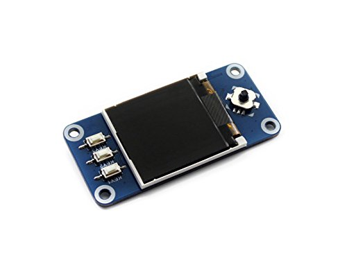 Waveshare 1.44inch LCD Display HAT for Raspberry Pi 128x128 with Embedded Controller Communicating via SPI Interface.