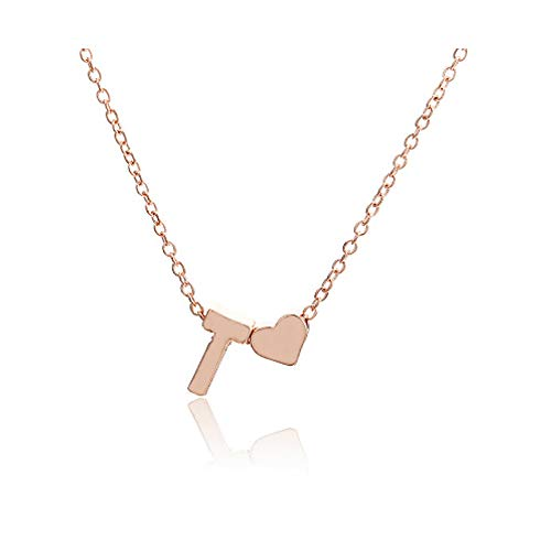 WLLAY Tiny Rose Gold Plated Stainless Steel Heart Initial Necklace Personalized Letter Necklace Name Jewelry for Women Girls Gift(T) ()