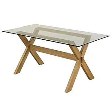 Crossed Leg / Frame 5ft Solid Oak Dining Table With Glass Top   Includes  Four Free