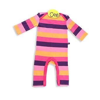 9cd8f2569fe Crib Baby Girls Rainbow Striped Playsuit - Pink - 18-24 Months  Amazon.co.uk   Clothing