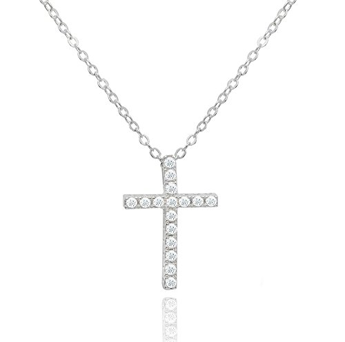 Brilliant Jewelry Round Cut Cz Cross Pendant 18in Cable Chain by NYC ()
