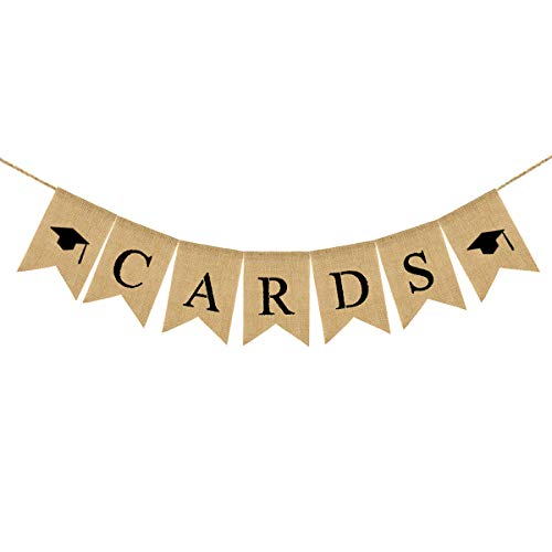 - Amosfun Cards Letters Burlap Banner Graduation Party Decorations Swallowtail Linen Banner Cards Bunting Sign for Graduation 1PCS