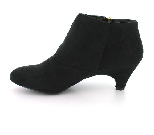 Womens/Ladies Black Kitten Heel Ankle Shoe Boots With Gold Zips ...