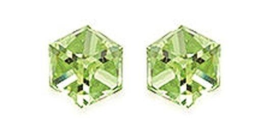 Boucles d'Oreilles Clou Puces en Argent 925/000 - Cristal Hegaxonal Vert