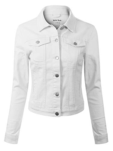 Design by Olivia Women's Solid Button Down Long Sleeve Classic Outerwear Cropped Denim Jacket White S - Fur Collar Pockets